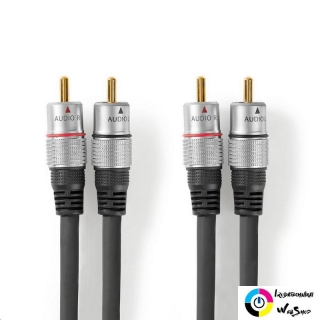 Nedis CAGC24200AT100 sztereó audiokábel 2 db RCA - 2 db RCA  10,0 m antracit